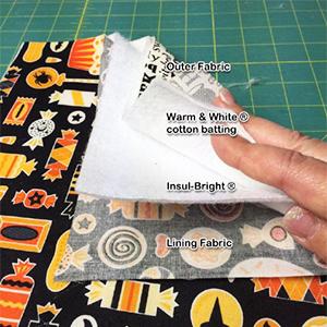 美國 Insul-Bright 隔熱保冰鋪棉 BT07-6345F, 為吸收水氣,除了美國 Insul-Bright 隔熱保冰鋪棉外, 建議至少再使用一層純棉鋪棉如: Warm& Natural (BT01) 或 Warm & White(BT02)以達最佳效果.