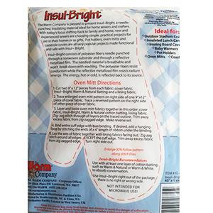 美國 Insul-Bright 隔熱保冰鋪棉 BT07-6345F產品包裝背面圖附附隔熱手套紙型與做法,方便自行放大縮小使用.